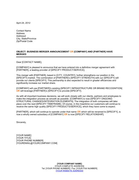Announcement of Business Merger Template – Word & PDF | By