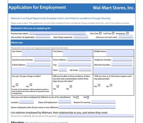 download walmart job application form free walmart job application form