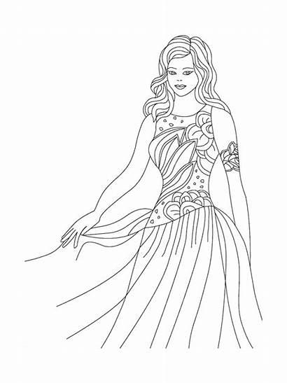 Coloring Princess Pages Dresses Printable Cool Barbie