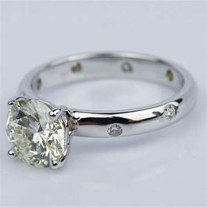 inset diamond engagement ring in white gold with round 1 With inset wedding rings