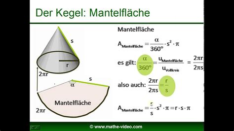 kegel volumen mantelflaeche oberflaeche youtube