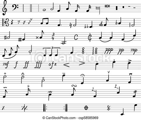 Are you learning the basic dynamics of music? Vector music notes, drawn illustration, musical staff and ...