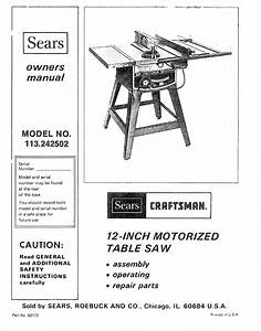 Sears Saw 113242502 User Guide