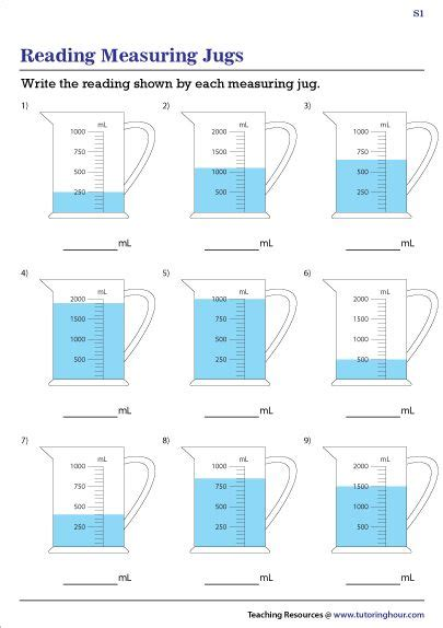 reading measuring jugs worksheets  images