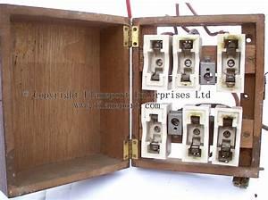 Mem Wooden Cased Fuse Box With Ceramic Rewireable Fuses