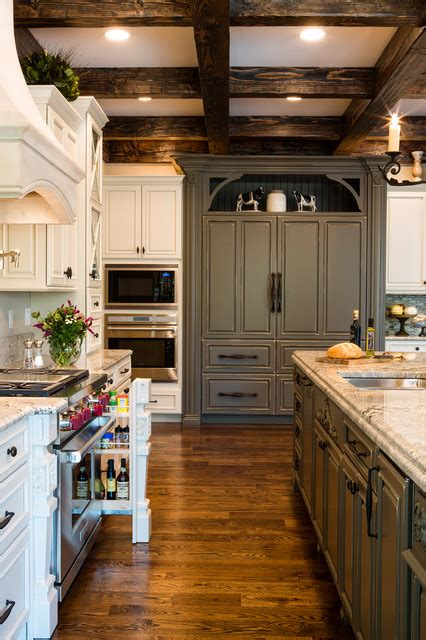 kitchen to go cabinets two toned white and gray kitchen with wood beams st louis 6312