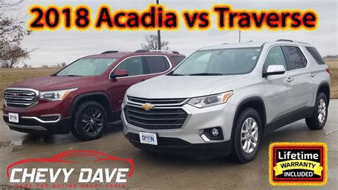 chevy traverse  gmc acadia side  side comparison