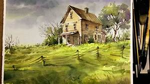 Watercolor Landscape Painting : Old little house in the ...