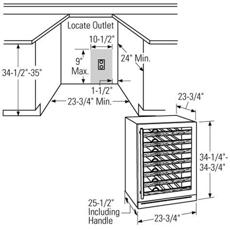 install measurements  wine fridge dimensional