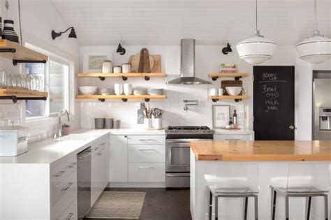The Pros And Cons Of Upper Kitchen Cabinets And Open Shelves Feng Shui For Living Room Rooms Sets Cheap Off White Green Curtains Red Brick Wall Mor Furniture Patterned Open Plan Kitchen Small Space