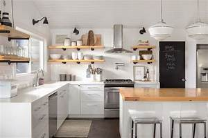 Why i combined open shelves and cabinets in my kitchen remodel for Kitchen cabinet trends 2018 combined with basket weave wall art