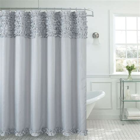 Shower Curtain Gray by Beverly Ruffle Premium Quality Fabric Shower Curtain