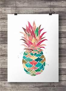 Kunst Bilder Zum Nachmalen : aquarell ananas printable wandkunst ~ Eleganceandgraceweddings.com Haus und Dekorationen