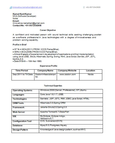 One Year Experience Resume Format For Developer by Java J2ee 2 Years Experience Resume