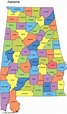 Alabama Map with Counties