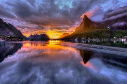 Water Sunrise Landscape Norway Hdr Mountain Reflection