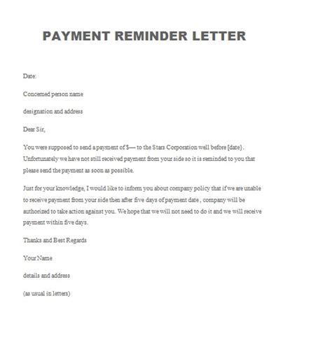 payment reminder letter archives  sample letters