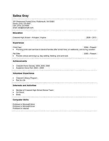 resume templates  high school students