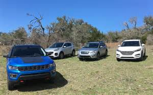 tucson jeep 2017 jeep compass vs hyundai tucson vs subaru crosstrek vs