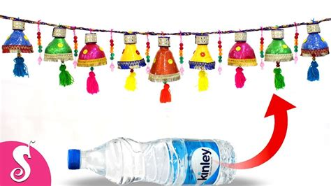 diy recycled decoration idea for hang on ceiling diwali toran door hanging from waste plastic bottles door decorating idea best out of waste