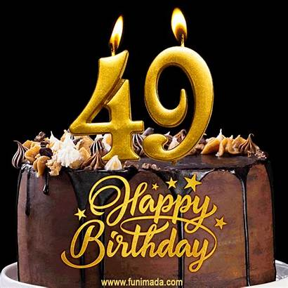 Birthday 49 Cake Candles 49th Number Gold