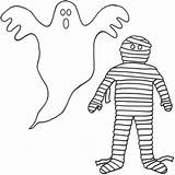 Ghost Coloring Pages Print Printable Halloween Mummy sketch template