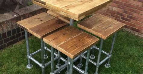 Reclaimed Industrial Scaffold Board Plank Breakfast Bar