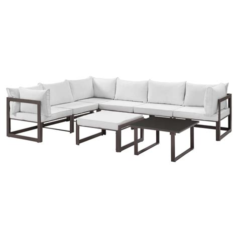 fortuna 8 pieces outdoor patio sectional set brown frame