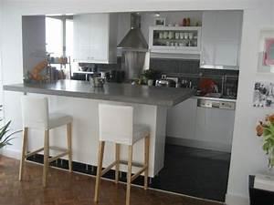 ilot comptoir avec mur en haut et d39un cote cuisine With cuisine ouverte avec comptoir