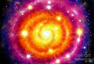 Yellow Orange Purple Spiral Galaxy Painting by Sofia Metal ...