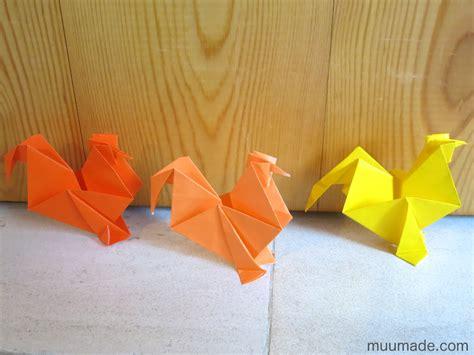 origami rooster chicken muumade