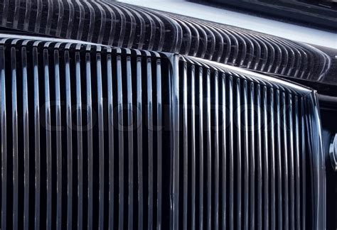 Shiny Chromed Front Radiator Grill Of Classic Luxury Car