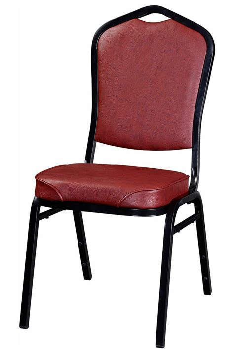 metal stack chair with black frame finish and wine vinyl