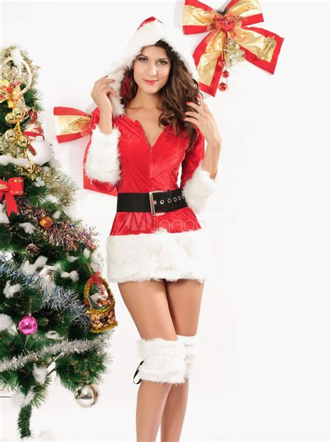 Faux Fur Hooded Belted Polyester Sexy Christmas 3piece