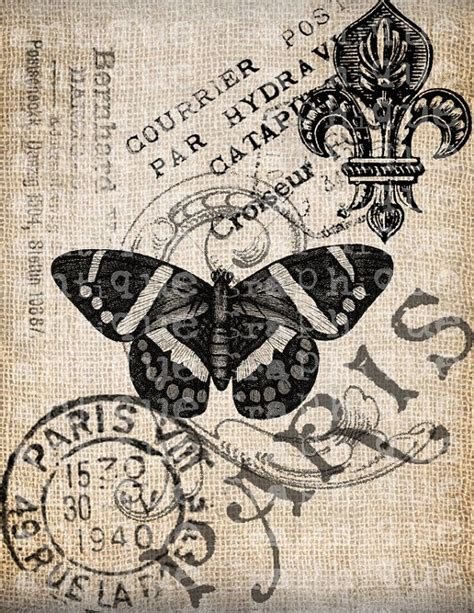 antique french butterfly paris postmark digital