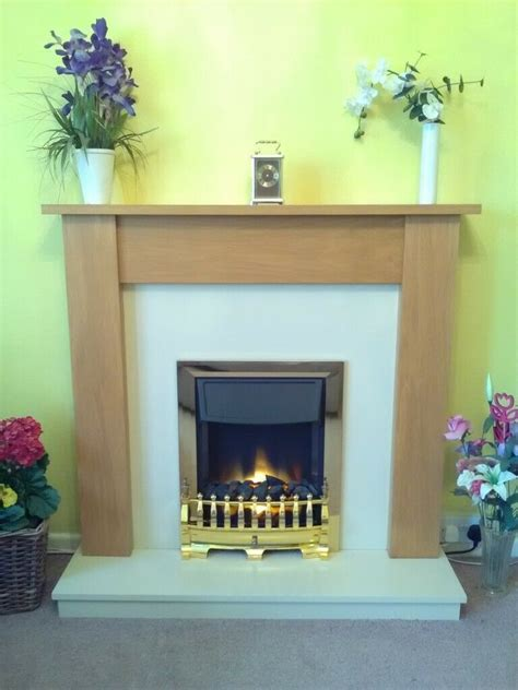 free standing fireplace surround with electric in