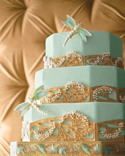 Art Nouveau Mint Green And Gold Cake Wedding Cakes