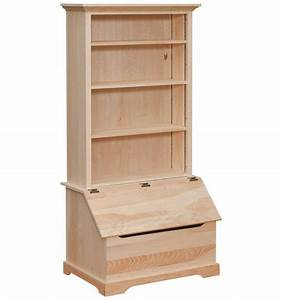 [35 Inch] Bookshelf - Slant Front Box Chest - Simply Woods