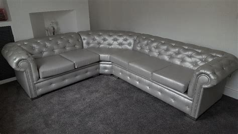 5 Seater Chesterfield Leather Corner Sofa (any Colour