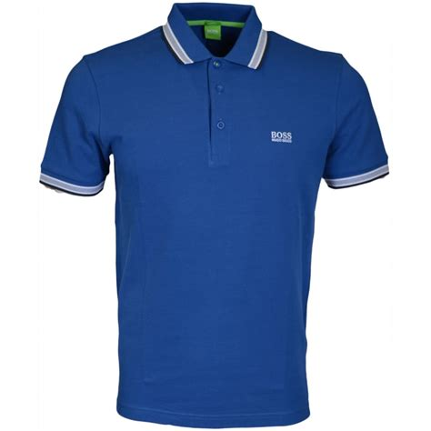 hugo green paddy modern fit pique blue polo hugo