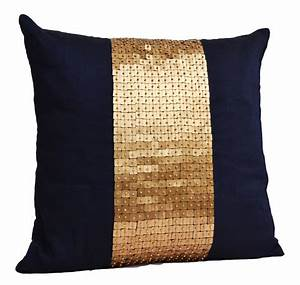 Throw pillows navy blue gold color block in silk sequin bead for Blue and gold accent pillows