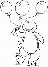 Barney Coloring Pages Drawing Balloons Dinosaur Holding Friends Birthday Printable Three Sheets Printables Balloon Cartoon Fun Sheet Dinosaurs Happy Books sketch template