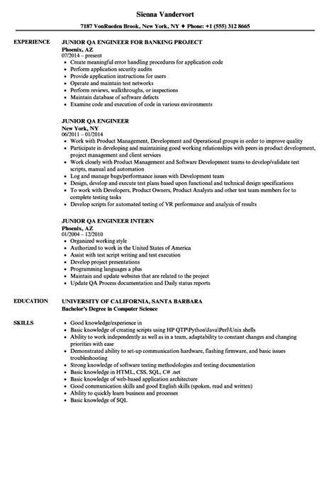 junior qa engineer resume samples velvet jobs