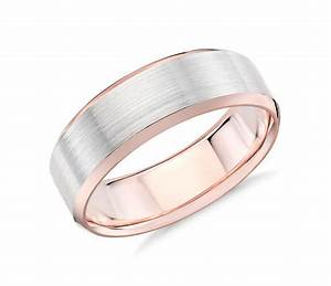 brushed beveled edge wedding ring in 14k white and rose With brushed beveled edge wedding ring