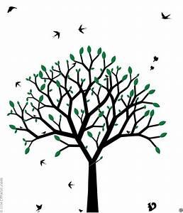 sticker mural arbre graphique arbre au printemps design With chambre bébé design avec noeud papillon a fleur