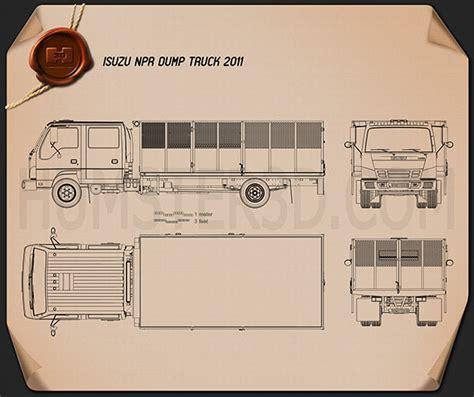 isuzu npr dump truck  blueprint humd