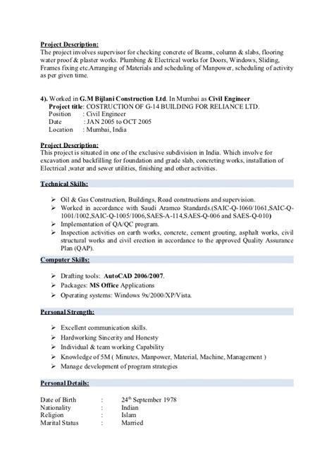 Resume Steel Fixer by Civil Engineer