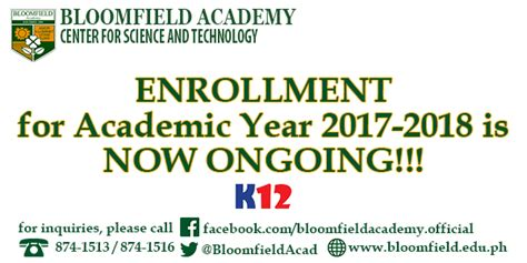 enrollment academic year ongoing bloomfield academy