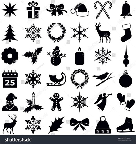 christmas winter icons collection vector silhouette stock