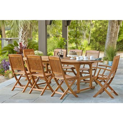 eucalyptus outdoor dining extension table and folding